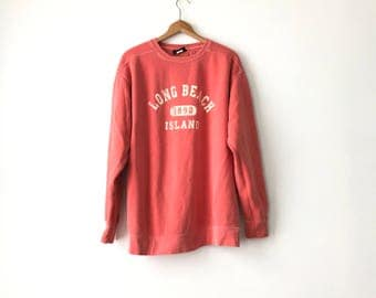 SALMON BEACH SWEATSHIRT // 90s // Large // Salmon Sweatshirt // Long Beach // Lbi Sweatshirt //Beach Sweatshirt // Long Beach Island // 90s