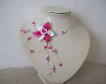 Necklace bridal wedding party evening satin flower, pearls white / pink maid of honor ceremony