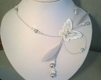 Butterfly lace feather bridal necklace Pearl grey/white wedding party evening ceremony