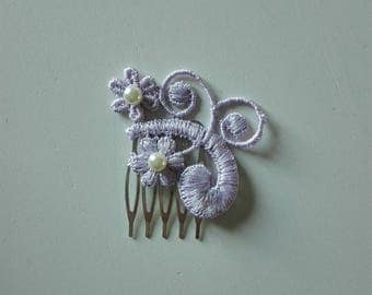 small purple beads lace wedding bridal comb ivory hair bun evening ceremony hair accessory