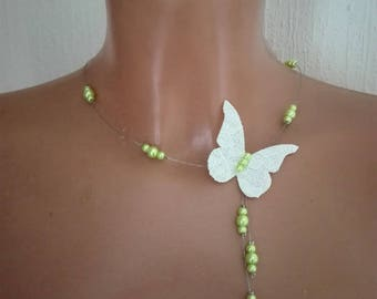 linen Butterfly Necklace / White Pearl lace green wedding party