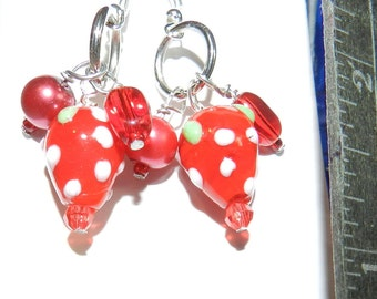 Earrings, Handcrafted, RED Dangles, Gold and Silver Findings, Mostly Glass, Adorable