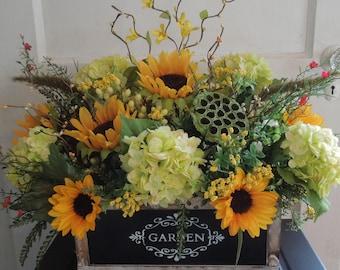 Sunflower and Hydrangea Garden Box floral Arrangement