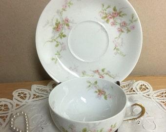 Theodore Haviland Limoges Porcelain Tea Cup - France.Delicate Floral Design - Shabby Cottage Chic