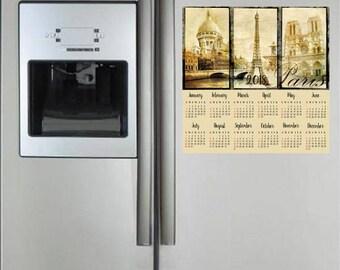 Paris 2018 Magnetic Fridge Calendar, Fridge Magnet, Yearly Calendar, Paris Home Decor, Eiffel Tower Fridge Magnet