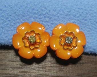 Gorgeous Fresh Tangerine Orange Flowers with Rhinestone centers Clip on Earrings