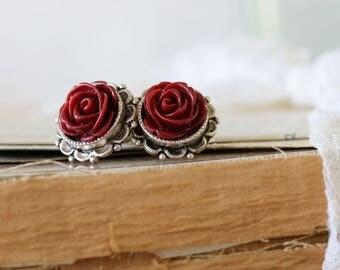 Burgundy Earrings - Rose Earrings - Romantic Flower Jewelry -  Bridesmaid Flower Earrings - Sister Earrings Gift - Friend Earrings Gift
