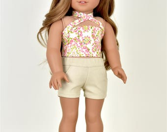Criss Cross Crop Top with Ties 18 inch doll clothes