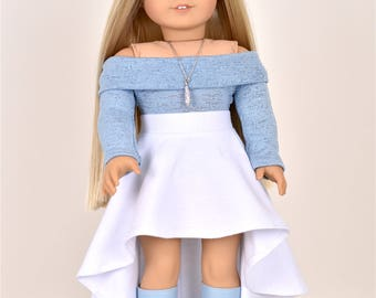 High Low Skirt  18 inch doll clothes White
