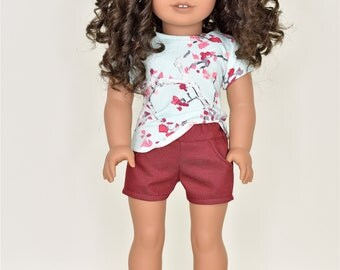 Shorts 18 inch doll clothes burgundy