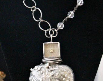 Silver rhinestone heart necklace statement assemblage relics & artifacts heart Winton Rose one of a kind handmade jewelry Bride necklace
