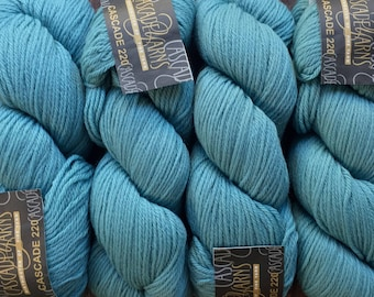 Cascade 220 100% Peruvian Highland Wool - 7.75 +.1.25ea to Ship - #8311 Mineral Blue - 220yds 100g - KNITS and FELTS Beautifully! MSRP 9.00
