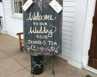 Custom Painted Reclaimed Wood Wedding Welcome Sign