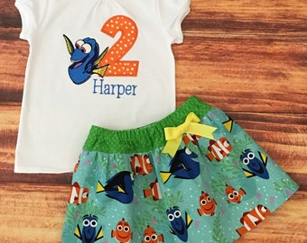 Finding Dory Birthday Outfit, Finding Dory Skirt, Finding Nemo Skirt, Finding Dory Shirt, Girls Finding Dory, Baby Finding Dory, Handmade