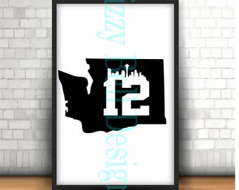 WASHINGTON State Seattle Skyline 12, 12th Man Seahawks, Digital Instant Download SVG Cut Files WA State Pacific Nw, PacNW, Pacific Northwest