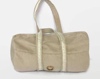 Fabric beige multifunction bag