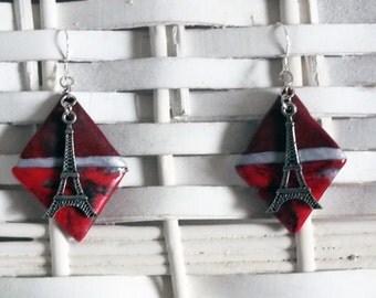 Earrings, La Parisienne, polymer