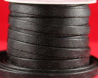 """MADE in EUROPE 24"""" flat leather cord, 10mm embossed leather cord, black 10mm embossed leather cord (499/10/01)"""