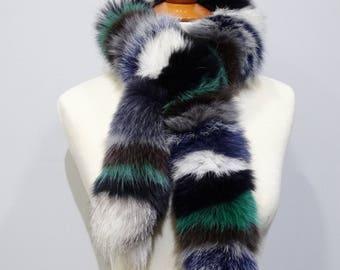 Trendi Fox fur scarf, Real fur collar, Fox fur, Colorful scarf, Fox collar, Fur Collar, Colorful fox collar, Fur scarves, Fashion scarf F805