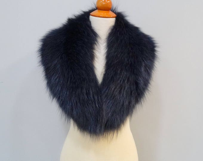 Blue Black Fox Fur Collar Ideal for Leather Jacket F694