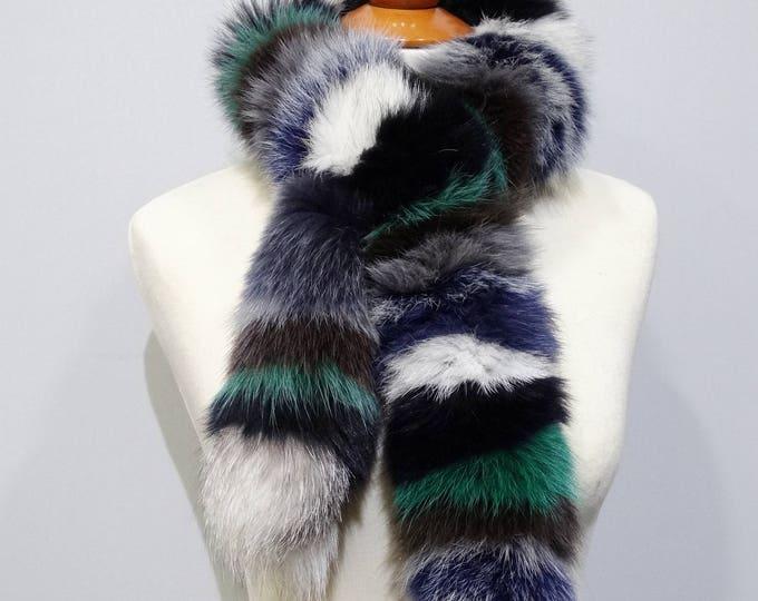 """""""Trendi"""" Fox fur scarf - Colorful Scarf F805"""