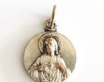 antique tiny french sacred heart of Jesus silver plated medal, Sacred Heart basilica of Montmartre