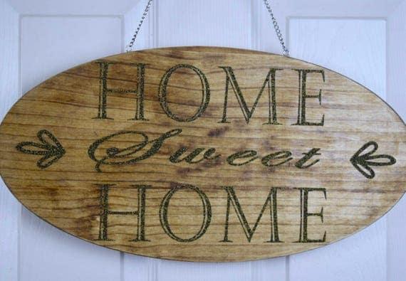Home Sweet Home Hanging Wood Plaque; Welcome Door Decor; Wood Welcome Decor; Front Door Wreath; Customized Door Decor; Black Gold Glitter