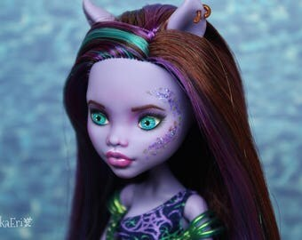 Monster High Custom Repaint Art doll OOAK Clawdeen Wolf/Mermaid