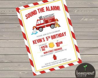 Firefighter Birthday Invitation - Kids Firefighter Birthday - Fireman Birthday - Firetruck Party - Firetruck Birthday - Fireman Invitation