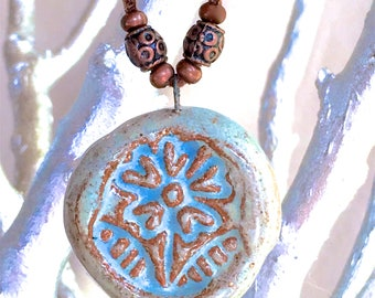 Light Blue Ceramic Pendant Necklace, aromatherapy essential oil diffuser jewelry bohemian jewelry gypsy hippie earthy copper rustic necklace