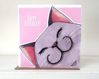 Happy Birthday Grey Cat - Blank Greeting Card