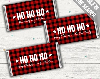 Christmas Candy Bar Wrappers (Plaid). Editable. Instant download.