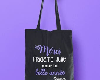 Personalize to teacher canvas tote bag