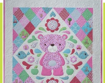 Teddy Bear Quilt, Baby Quilt Pattern, Appliqué Quilt, Sleepy Time Teddy, by Melly and Me