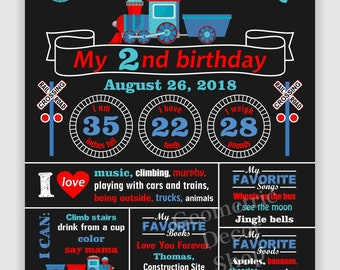 Train / Birthday / Chalkboard / Sign / Printable / Boy / 1st / Board / First / Poster / 2nd / Second / any age / red / blue / CTrain1