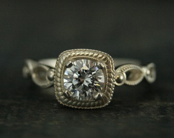 Art Deco Engagement Ring~Tiana~Halo Style Ring~Vintage Style Engagement Ring~Antique Style Engagement Ring~Silver Engagement Ring~Moissanite