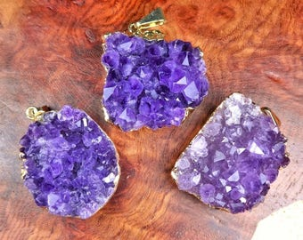 Druzy Amethyst Necklace - Purple Crystal Cluster Pendant - Gold Plated Drusy Stone Earrings (E45/6) Healing Crystals and Stones Jewelry