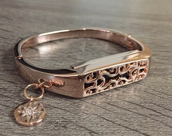 Rose Gold Color Band for Fitbit Flex 2 Activity Tracker Bangle Handmade Fitbit Flex 2 Rhodium Cubic Zirconia Charm Fitbit Flex 2 Pendant