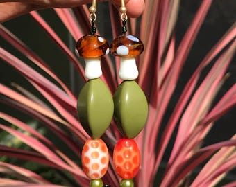Dangle Earrings // Psychedelic 60s Earrings // Mushrooms Avocado Green Burnt Orange Dangle Earrings // Metalwork and Beaded Dangle Earrings