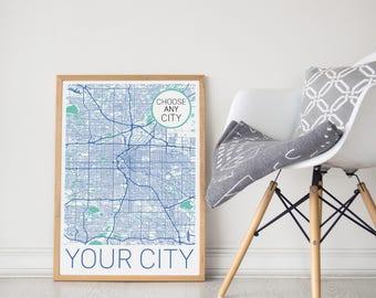 Custom Map / Personalized Map / Custom Map / Custom City Print / Personalized Map Print / Your City / Custom Art / Custom Print