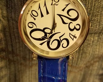 fun large number face round dial wrist watch by FMD Fossil Blue Band 3-hand analog