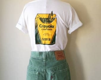 "Vintage 50/50 Crayola white thin t-shirt ""Quality-That's my job """