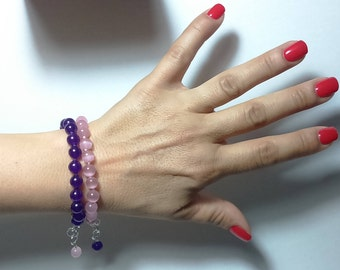 Purple Crystal beads bracelet pink, solid 925 Silver necklace, hand knotted, adjustable bracelet, combinable