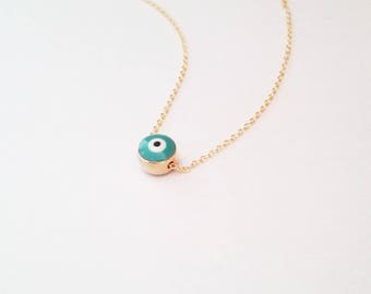 Small Evil Eye Necklace, Gold Evil Eye Jewelry, Gift for friend, Protection Jewellery, Turkey Nazar Jewelry, Layered Nazar Necklace / N105