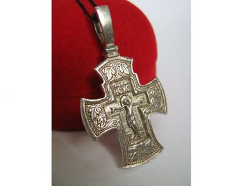 925 Sterling Silver Detailed CROSS PENDANT Icon Amulet with Crucifix Christ Inscription Prayer to the Venerable Cross Made In Ukraine