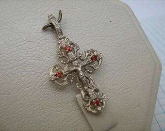 SOLID 925 Sterling Silver CROSS Pendant Jesus Crucifix Openwork Filigree Red Stones Russian Cyrillic Inscription Christian Church Jewelry