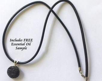 """Aromatherapy Jewelry- Lava Stone Diffuser Necklace on 18"""" Leather Rope, Young Living or doTerra"""