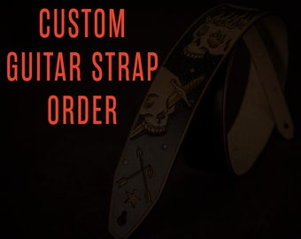 Custom Leather guitar strap Unique custom-made gift
