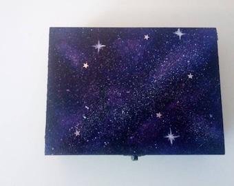 Purple galaxy jewelry box. Small jewelry box. Trinket box.