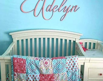 Baby Name Nursery Sign - Cursive Name Sign for Nursery Wall Decor - Baby Nursery Custom Wood Sign - Wooden Name Sign - Roman Script Font